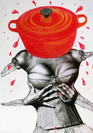 'This is what I want' (Irving Penn, Karl Lagerfeld & Le Creuset) | Collage, acrylic and pencil