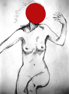 'Red Dot Faceless' (Dali, Muse) - pencil & acrylic