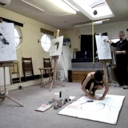 Frank and Dominique in the studio